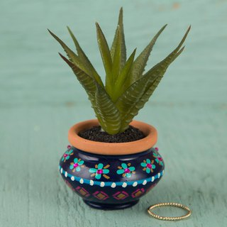 Painted style mini succulent potted - navy blue | PLNT008