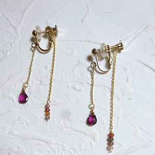 14K gold texture before and after layered gemstone earrings spiral clip type demonstration