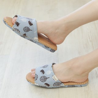 Leather cloth flower indoor slippers (jungle hiding cat) sky blue