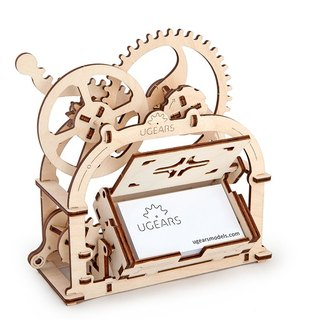 /Ugears/ Ukrainian wooden model motorized business card case Mechanical Etui