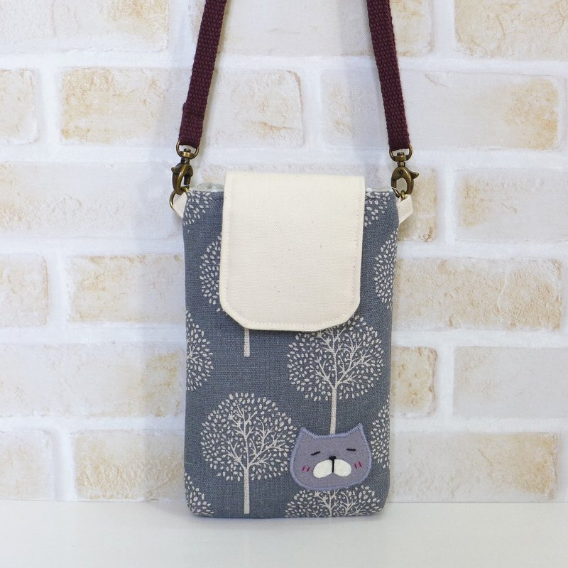 丫喵Mobile phone bag - white tree (with strap)