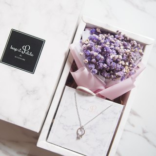[Cloud Pattern Gift Set - Necklace] Purple Dry Star Bouquet + Mini Ring Necklace