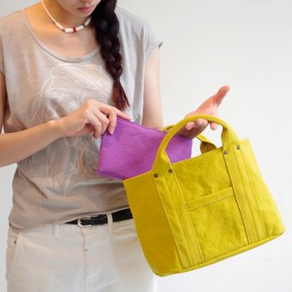Kurashiki canvas mini tote - Mustard yellow