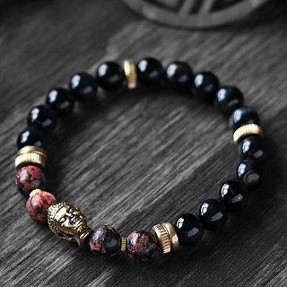 Open flame. Natural ore bracelet red alabaster dark blue tiger eye stone 24K gold pure copper Buddha head essence pure copper