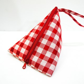 S,HU - Triangle zipper pouch/Cosmetic bag/Ditty bag(red checked)