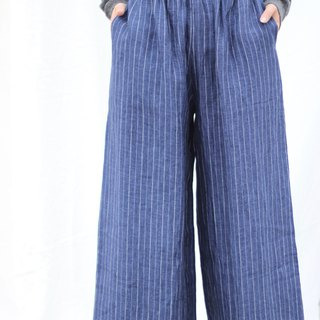 [Spot] original retro literary yarn-dyed linen wide-leg pants - denim blue pinstripes