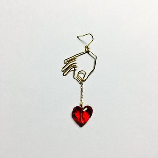 <For one ear> hanging heart (red)