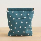 Charger case, Cosmetic pouch, Ditty bag, Make-up Case, Travel pouch / Polka dot teal blue