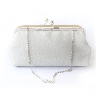Handmade Clutch Bag in Silver | Gift for Bridal, Bridesmaids, Mom | Shimmery Silver