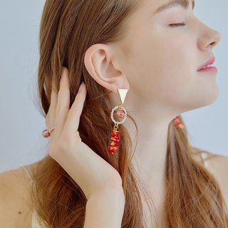 Coral Snowbal Earrings