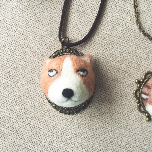 Inertial Animal Necklace - White-eyed Koji Yogi Corgi White-eyed Dog Year of the Dog Necklace