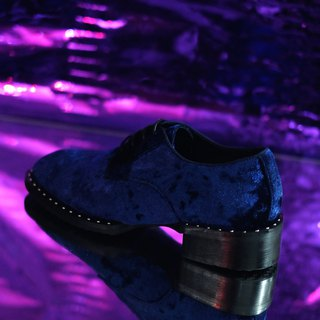 Dark blue suede leather shoes
