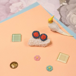 Handmade Embroidery Earrings - Orange Flower Ear stud (in pair)