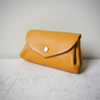 Leather Wallet Italian Natural Tanned Leather Mini Pouch Fave Mimosa