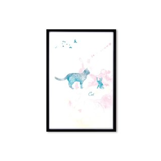HomePlus Decorative Frame BEST COMPANION-CAT Black frame 63x43cm Homedecor