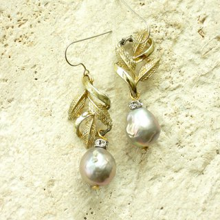 Antique gold leaf gray pearl earrings