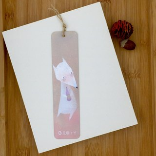 [Only one] hand-painted metal bookmarks, white fox - pink and green
