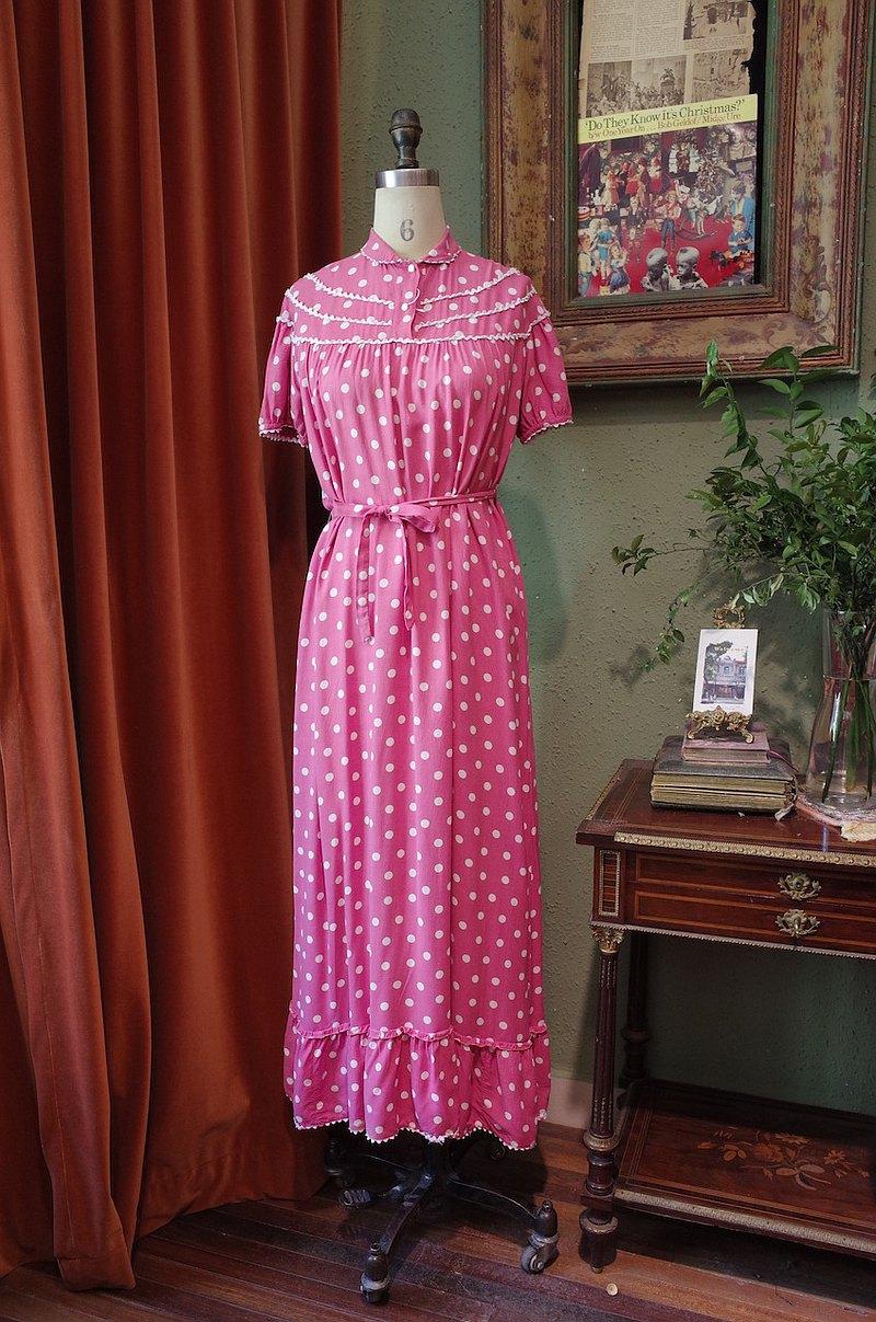 vintage dress小翻領波點連衣裙甜美古著洋裝