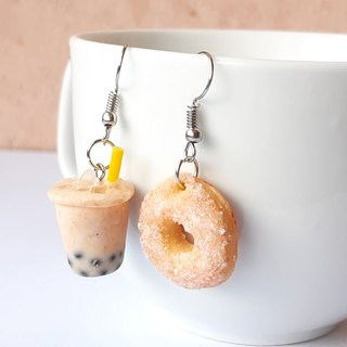 Bubble milk tea and suger donut earring