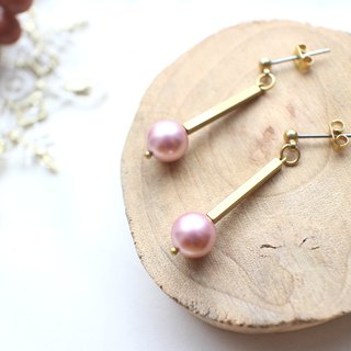 Candy-Crystal pearl brass earrings