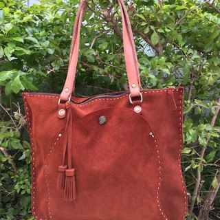 Nora Indian Tassel Suede Shoulder Square Tote Bag