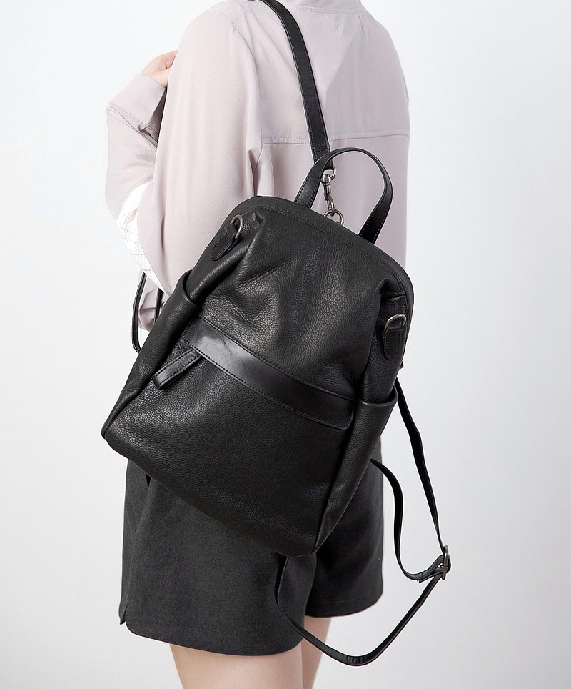 Urban casual leather shoulder back 3 with black bag
