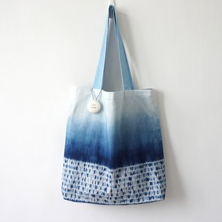 S.A x Straw, Indigo dyed Handmade Abstract Pattern Tote Bag (L)