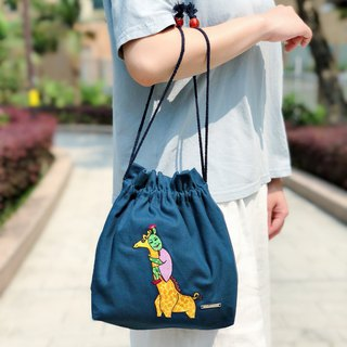 Belongs To J. Embroidered Cotton Canvas Drawstring Tote bag - Giraffe With Me