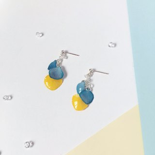 * Haku‧Neko * Summer Fresh Look Blue and Yellow hydrangea flower with crystal 925 sterling silver earrings ear clip (three-dimensional real flower series)