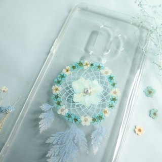 Pressed Flower Dreamcatcher Phone Case | Blue & Off-White