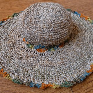 【Grooving the beats】Handmade Hand-woven Hemp and Cotton Hat with adjustable edges, Summer hat,  Womens Summer Hat, Sun hat women, Wide brimmed hat, Large brim sun hat, Crochet Hat, Holiday Hat, Beach Hat, Hemp Hat, Straw Hat(Flower_Orange+Green)