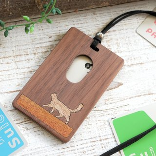 Wooden IC card case 【Walking cat】 Somali / Somali