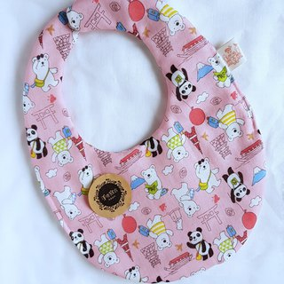 Panda polar bear swim in Japan - pink - eight heavy yarn 100% cotton double egg bib