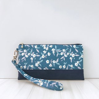 Blue flower suede cotton bag with mobile phone clutch bag