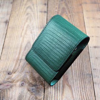 APEE leather handmade ~ cigarette box ~ lizard skin green ~ slender cool models