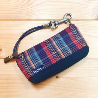 Zipper key case (color grid) Japanese cloth order payment*