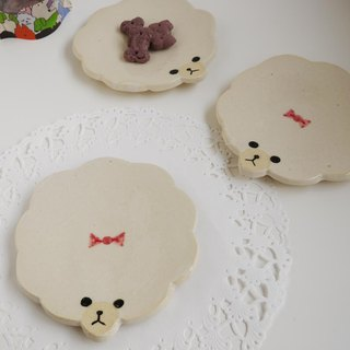 Toy poo plate [white] / toy poodle's small dish [white]