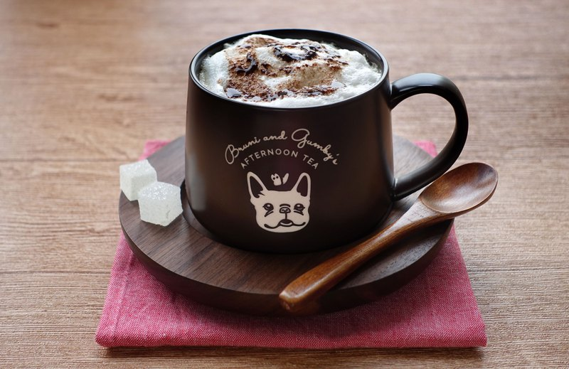 French Bulldog Coffee Mug with Wooden Saucer and Spoon-**BROWN**【3-Piece Set】