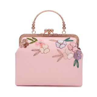 Pink/Double opening Original design/Beading/Handmade Bag/Shoulder Bag