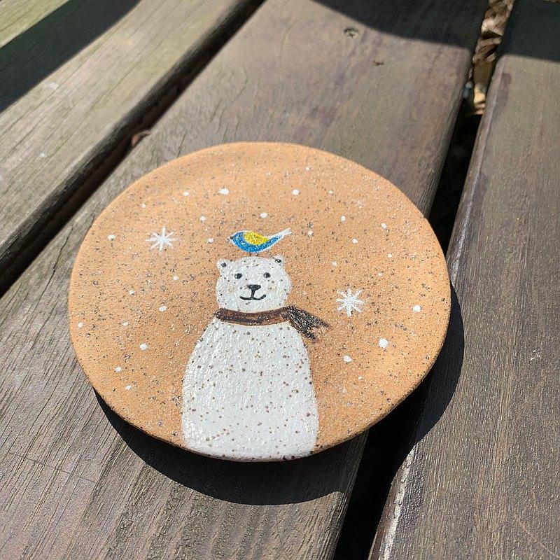 A Lu - 北極熊小平陶盤 /擺飾/手做手繪/美國進口砂陶 僅此一件