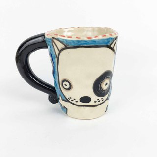 Nice Little Clay Mug Black Wheel Dog 01061-10