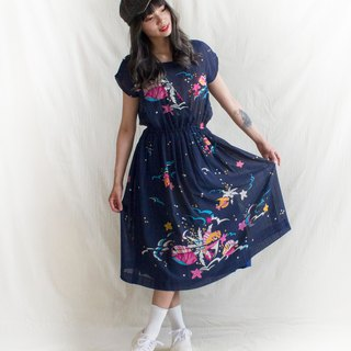 Dark blue underwater world half sleeve vintage dress