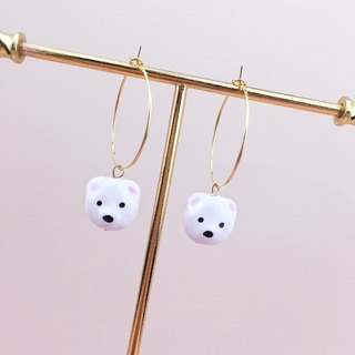 Cute cartoon, White Bear Earrings, hand painted 18K GOLD PLATED EARRINGS