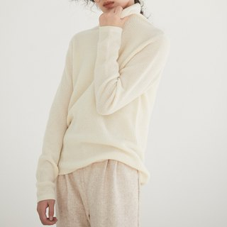 Beige gentle waffle cashmere wool blend sweater Cashmere Australian wool turtleneck sweater
