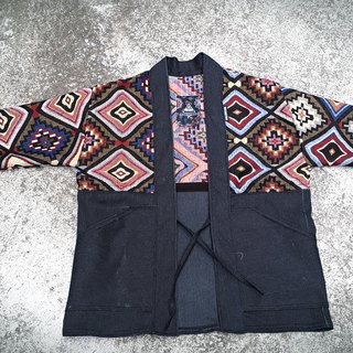 AMIN'S SHINY WORLD Handmade custom KIMONO national diamond totem mixed smock coat coat