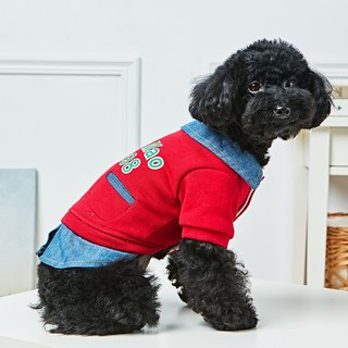 Pet clothes denim lapel casual clothes