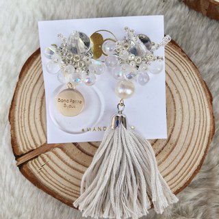 White Christmas blessing Japanese beads freshwater bead clip earrings tassel asymmetric models