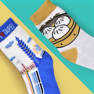 Pack Of 2=Taiwan Taipei SOCKS+Taiwan Dumplings SOCKS