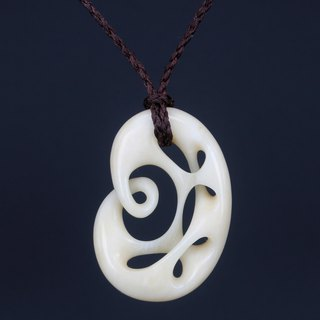 New Zealand Maori national classic retro abstract infinity symbol simple wild men and women cattle bone carving pendant necklace