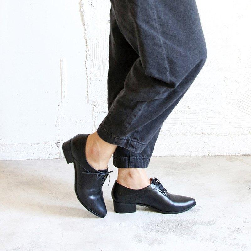 【手工訂製】拼接設計綁帶踝靴_黑
